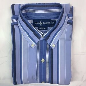 Ralph Lauren Medium Blue Striped Long Sleeve